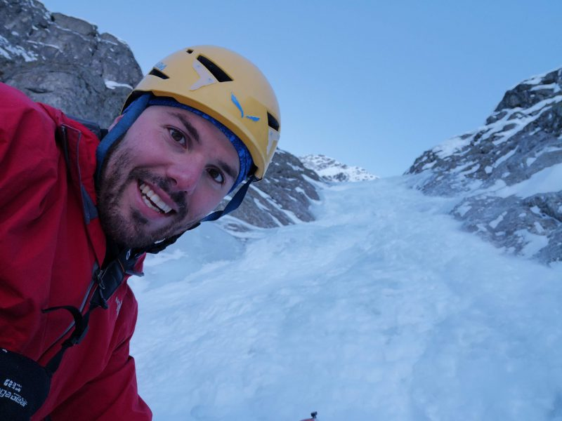 altro selfie prima della cascata di ghiaccio